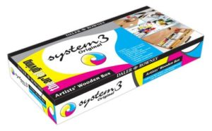 System 3 acrylics set in a wooden box £41.60. Perfect gifts for artists.