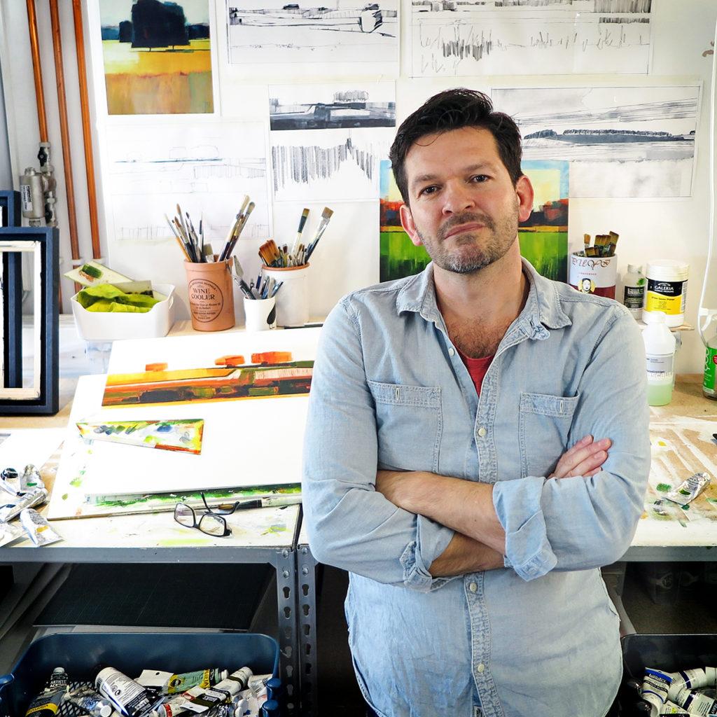 Artist Simon Parr in his studio