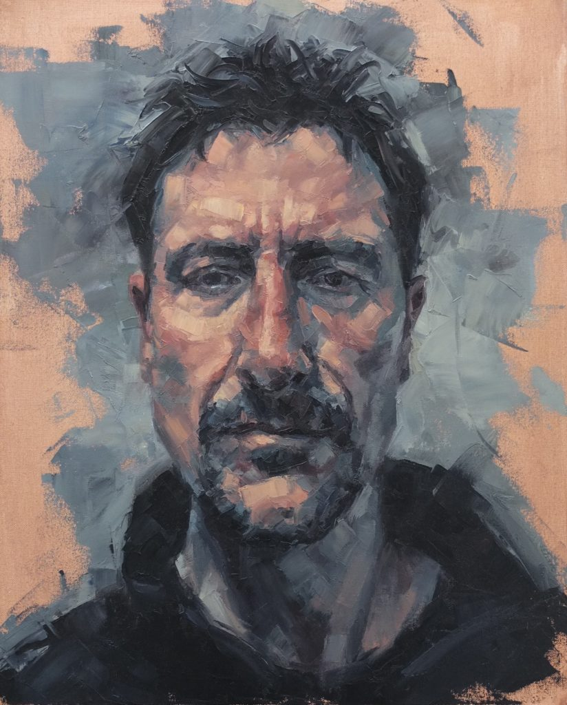 Mark was awarded Winsor & Newton painting award at The Royal Society of British Artists Annual Exhibition 2020 with this self portrait.