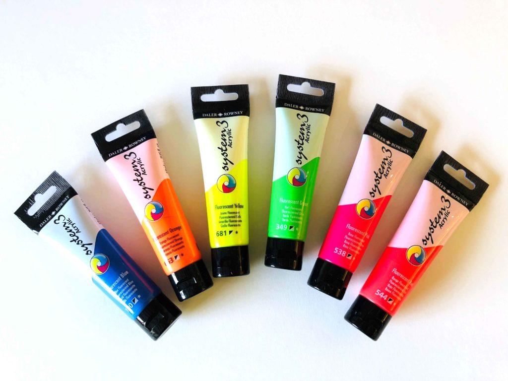 System 3 Neon paint colours by Pegasus Art.