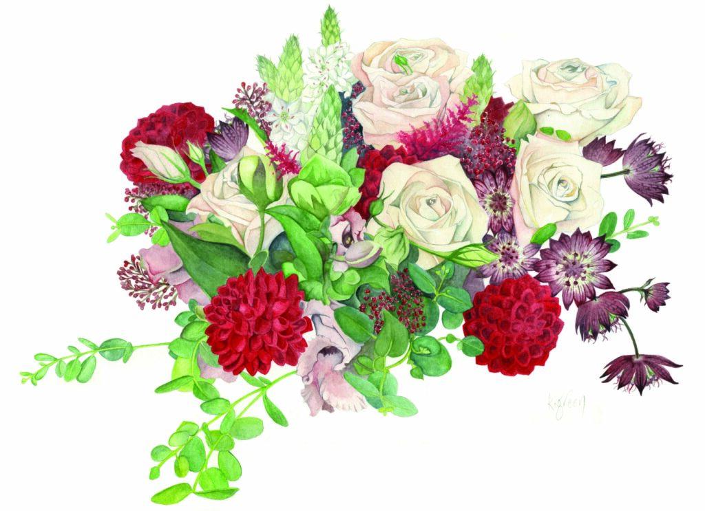 Winter Flowers by Karen Green botanical artist at Pegasus Art