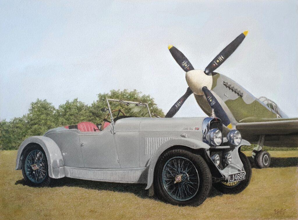 Alvis vintage car and spitfire plane, commission by Ivan Jones artist.