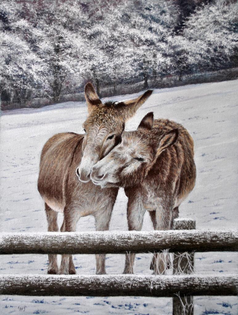Christmas morning donkeys by Ivan Jones artist.