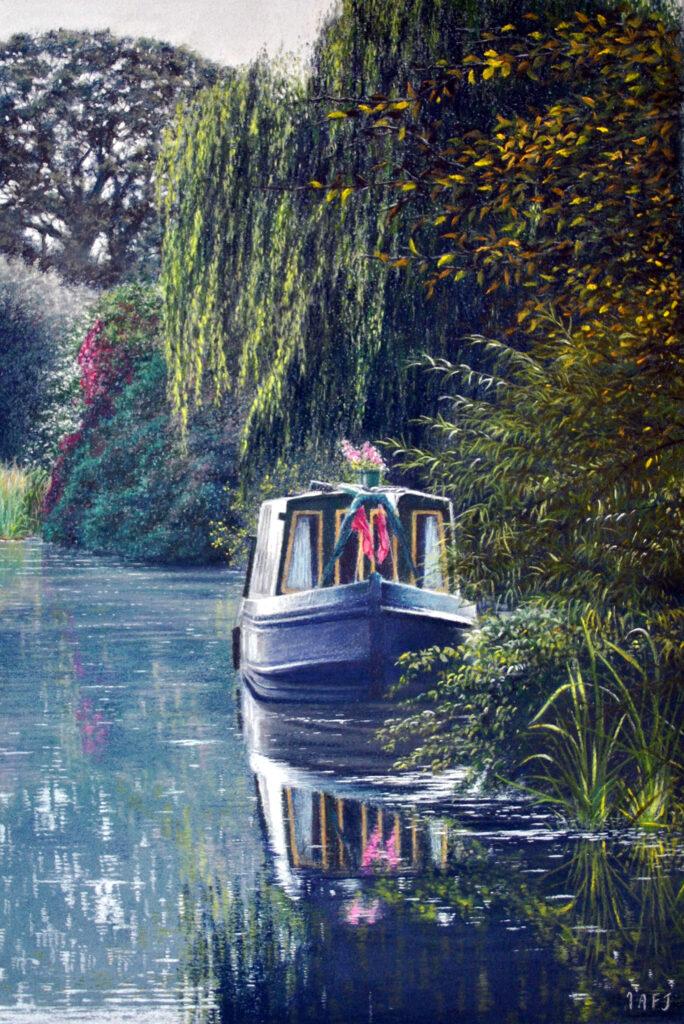 Riverbank mooring Sempford Peverell by Ivan Jones. Guest blog for Pegasus Art.