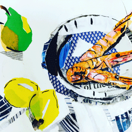 Alison Vickery prawns and lemons drawing