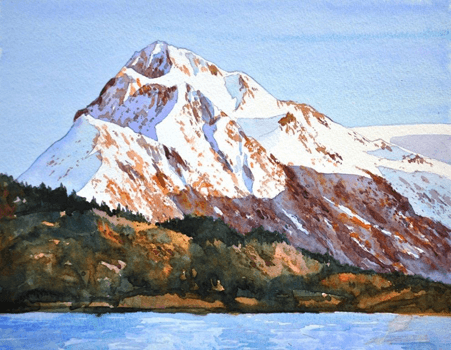 Watercolour painting of mountain