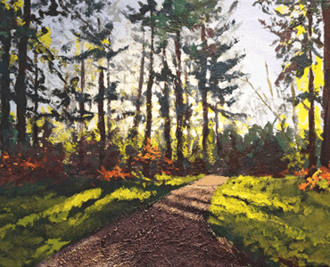 DJ Acrylic Workshop - Woodland Textures Painting with trees and path