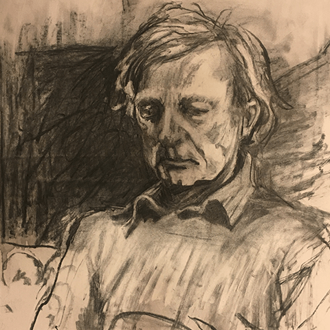 charcoal drawing of a man wearing a shirt and jumper