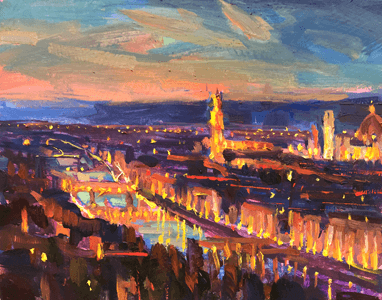 Lucy Kent Piazza Michelangelo Nocturne Painting