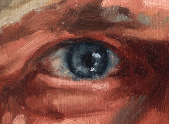 Close up of an painting on an eye