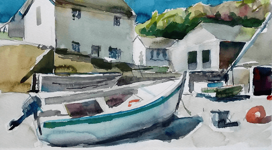 Max Hale watercolour painting of boat in harbour low tide