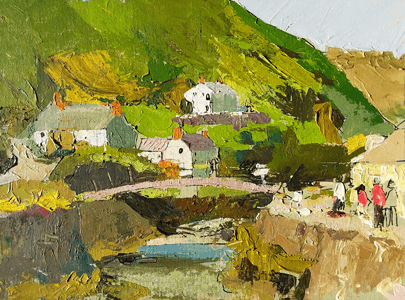 Max Hale painting of cottages example