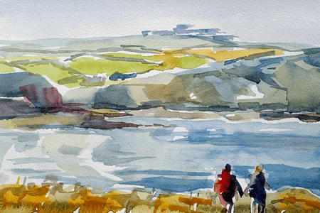 Max Hale watercolour painting of couple walking along North Cornish coast, beach and cliffs