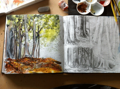 Mel Cormack-Hicks sketchbook example with trees