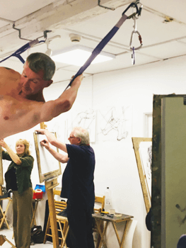 Paul Fowler Life Drawing man hanging from ceiling ribbons