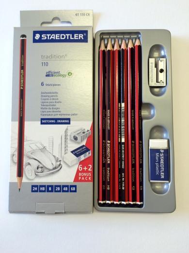 ERASER /& SHARPENER STAEDTLER TRADITION 110 ARTISTS PENCILS PACK OF 6
