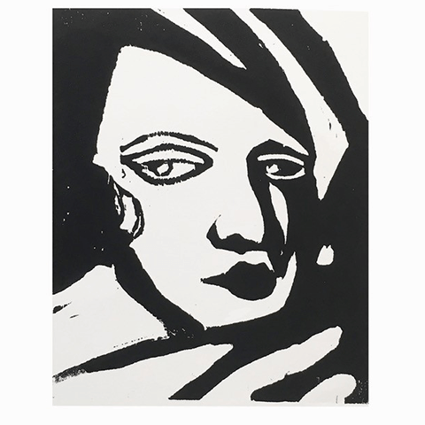 Rod Nelson woodblock printing class - pritn of ladies face