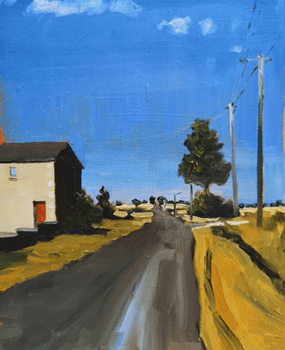 sarah wimperis - painting of house on a road