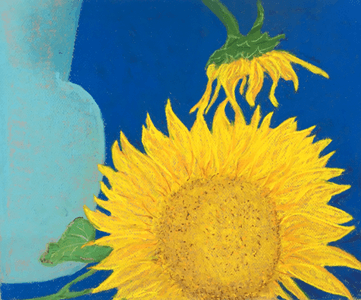 Susan Kester Drawing Workshop sunflowers on blue background drawing