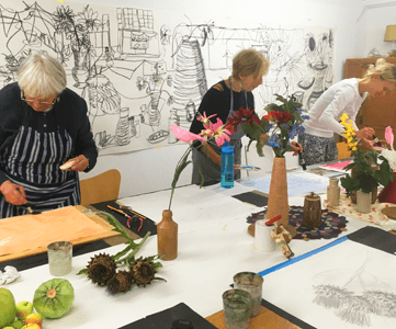 Susan Kester Drawing Workshop - students around a table