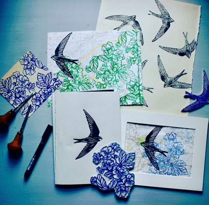 Susie Hetherington lino print workshop examples of swallows and flowers