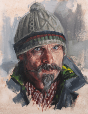 Painting of man with woolly hat and facial hair by Mark Fennell